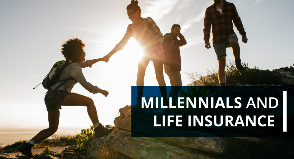 blog image of young adult millennials hiking; blog title: millennials and life insurance